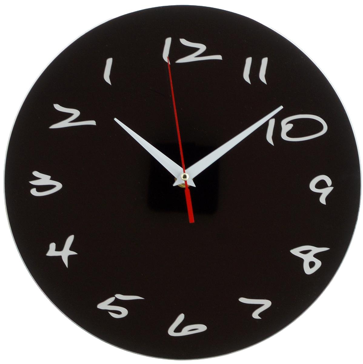 Часы настенные Эврика Античасы. Классика черная, диаметр 28 см96616Оригинальные настенные часы Эврика Античасы. Классика черная круглой формы выполнены из стекла. Часы имеют три стрелки - часовую, минутную и секундную и циферблат с цифрами. Необычное дизайнерское решение и качество исполнения придутся по вкусу каждому. Античасы. Классика черная - это не обычные часы, а часы с обратным ходом.Часы работают от 1 батарейки типа АА напряжением 1,5 В.