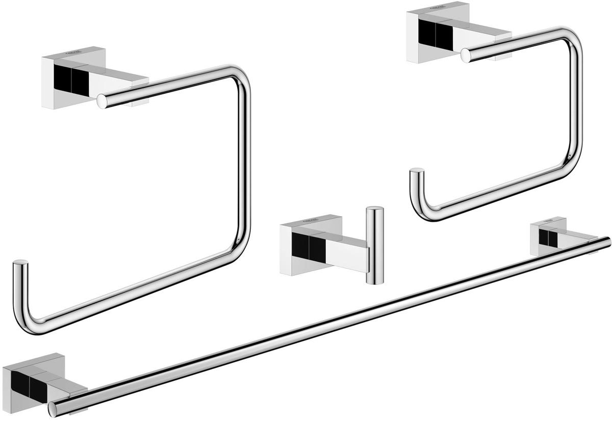 """Набор аксессуаров для ванной комнаты Grohe """"Essentials Cube"""" включает держатель для банного полотенца, крючок для банного халата, держатель для туалетной бумаги и кольцо для полотенца. Изделия выполнены из латуни с хромированным покрытием. Благодаря специальной технологии Grohe StarLight покрытие обеспечивает сияющий блеск на протяжении всего срока службы. Кроме того, оно отталкивает грязь, не тускнеет и обладает высокой степенью износостойкости. Все предметы крепятся к стене (крепежные элементы поставляются в комплекте). Благодаря неизменно актуальному дизайну и долговечному хромированному покрытию, такой набор отлично дополнит интерьер ванной комнаты, воплощая собой изысканный стиль и превосходное качество. Размер кольца для полотенца: 19 х 6 х 12 см. Размер держателя для туалетной бумаги: 14 х 6 х 10 см. Размер крючка: 4 х 6 х 4,5 см. Длина держателя для банного полотенца: 60 см."""