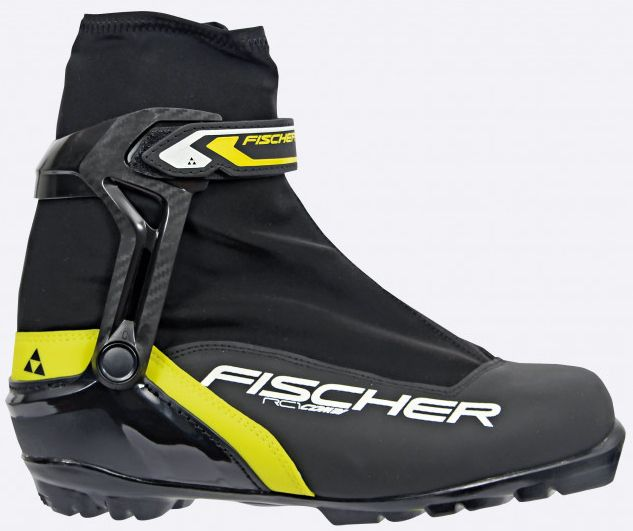 Ботинки лыжные мужские Fischer RC1 Combi, цвет: черный, желтый, белый. S46315. Размер 45S46315Универсальная модель лыжных ботинок для любителей обеспечивает оптимальную поддержку голеностопного сустава. Подошва средней жесткости позволяет использовать их для катания как коньковым, так и классическим ходом.ТЕХНОЛОГИИ:HINGED POLYMER CUFFЭргономичная манжета обеспечивает боковую поддержку и дает свободу движений вперед и назад. Равномерное распределение давления благодаря манжете из материала EVA.INJECTED EXTERIOR HEEL CAPНаружная пластиковая вставка анатомической формы в пяточной части обеспечивает комфортное облегание ботинок и отличную передачу энергии.THERMO FITТермоформируемый материал внутреннего ботинка обладает прекрасными изоляционными свойствами и легко адаптируется по ноге.EASY ENTRY LOOPSШирокое раскрытие ботинка и практичная петля на пятке облегчают надевание/ снимание ботинок. LACE COVERДополнительная защита шнуровки предотвращает проникновение влаги и холода.TRIPLE F MEMBRANEВлагонепроницаемая мембрана, обладающая дышащими свойствами, позволяет ногам оставаться сухими в любую погоду.GAITER RINGКольцо-крепление, подходящее для всех популярных моделей гамашей, предназначено для дополнительной защиты от снега и влаги. VELCRO STRAPЗастежка на липучке для быстрого регулирования и застегивания - расстегивания. CLEANSPORT NXTСпециальная пропитка подкладки и стелек ботинок. Система из полезных микробов, которые устраняют неприятный запах. COMFORT GUARDОчень легкий, водоотталкивающий изоляционный материал дополнительно защищает от холода мысок и переднюю часть стопы.