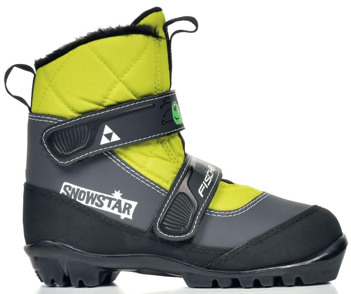 Ботинки лыжные детские Fischer Snowstar Yellow, цвет: черный, желтый. S41016. Размер 29S41016Модель Fischer Snowstar Yellow предназначена для самых маленьких лыжников. Комфортная мягкая подошва ботинок NNN Touring, утеплитель Thinsulate дополнительно защищает от холода и влаги, удобная застежка – липучка облегчает надевание. В ботинках удобно не только кататься, но и гулять, и играть. Характеристики: - Пластиковая вставка анатомической формы в пяточной части. Очень легкая и термоформируемая. - Застежка на липучке, для быстрого регулирования и застегивания - расстегивания. - Специальная пропитка подкладки и стелек ботинок. Система из полезных микробов, которые устраняют неприятный запах. - Тонкий, теплый и легкий, Thinsulate – это один из самых лучших теплоизоляционных материалов, представленных на рынке. - ПОДОШВА T3 NNN. Лучшая передача энергии, оптимальная гибкость. Также используется в детских ботинках. - Тип колодки для юных лыжников. Разработан с учетом формы ноги молодых спортсменов. Дополнительный комфорт и поддержка. Длина стельки: 17,5 см.Как выбрать лыжи ребёнку. Статья OZON Гид