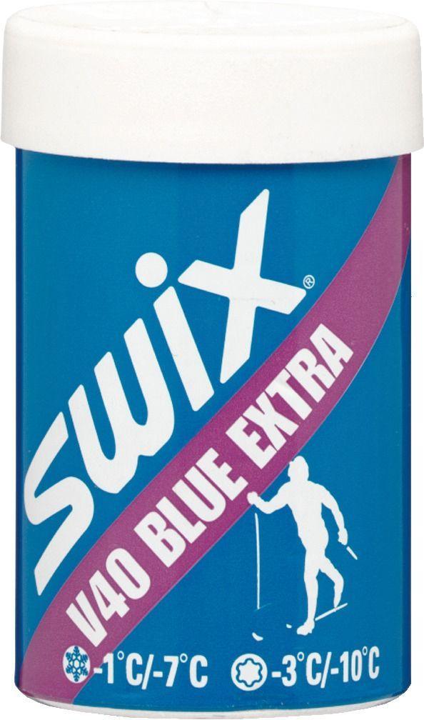 Мазь держания Swix V40 Blue Extra, 45 гV0040V40 СИНЯЯ ЭКСТРАупаковка 45 гМазь держания Swix V40 Blue Extra - самая популярная мазь держания из линии V. Очень универсальная, с широким диапазоном температур ниже нуля. При использовании при температуре около нуля требует относительно влажного снега и низкую влажность воздуха (менее 45- 50%) Новый свежевыпавший снег:-1°С- 7°ССтарый снег:-3°С- 10°С