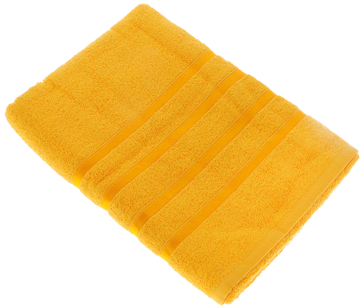 "Полотенце Tete-a-Tete ""Ленты"", цвет: ярко-желтый, 70 х 135 см"