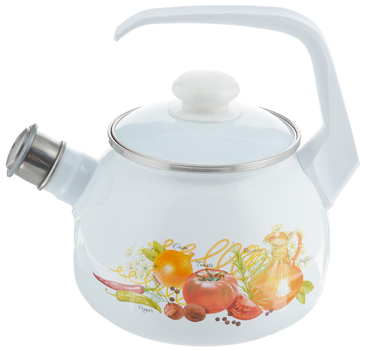 Чайник эмалированный Лысьвенские эмали Итальянская кухня, со свистком, 2,5 лС-2711АП/4Чайник Лысьвенские эмали Итальянская кухня выполнен из высококачественной стали, покрытой эмалью. Такое покрытие защищает сталь от коррозии, придает посуде гладкую стекловидную поверхность и надежно защищает от кислот и щелочей. Носик чайника оснащен свистком, звуковой сигнал которого подскажет, когда закипит вода. Чайник оснащен фиксированной ручкой из пластика и крышкой, которая плотно прилегает к краю. Внешние стенки декорированы красочным изображением овощей. Эстетичный и функциональный чайник будет оригинально смотреться в любом интерьере. Подходит для газовых, электрических, стеклокерамических и индукционных плит. Можно мыть в посудомоечной машине. Диаметр (по верхнему краю): 13,5 см.Высота чайника (с учетом ручки): 23 см.Высота чайника (без учета ручки и крышки): 14 см.