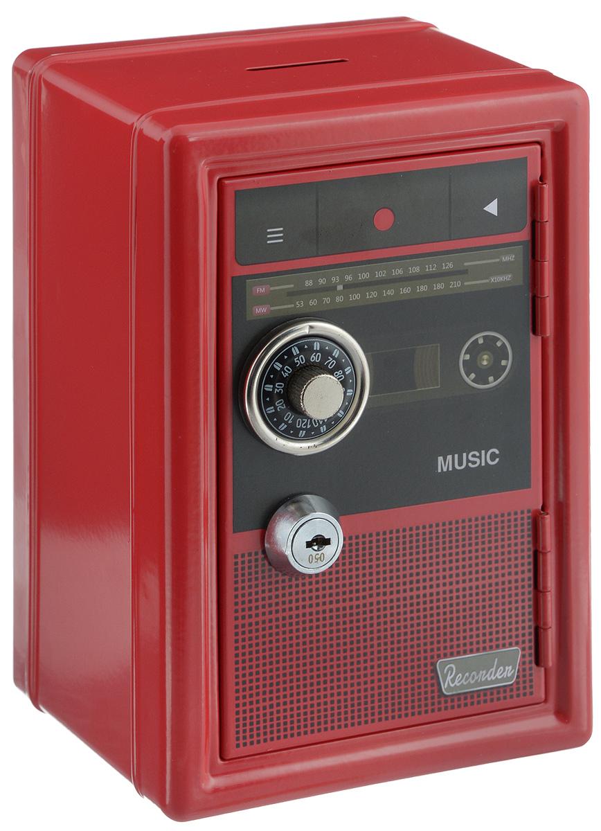 Копилка-сейф Эврика Радио-ретро, с ключами, цвет: красный97448Копилка-сейф Эврика Радио-ретро своим винтажным дизайном напоминает старинный радиоприемник. Ручка настройки частоты - это на самом деле ручка кодового замка. Замок-щеколда открывается поворотом до характерного звука. Под ним расположен замок, к которому прилагается комплект из двух ключей. Внутри содержатся два отделения - для хранения бумаг и выдвижной пластиковый ящик для мелочи. Сверху расположен слот для монет. Такая копилка станет приятным и практичным подарком, который поможет надежно хранить ценные вещи и деньги. Рекомендуется хранить запасной ключ отдельно, на случай утраты основного.