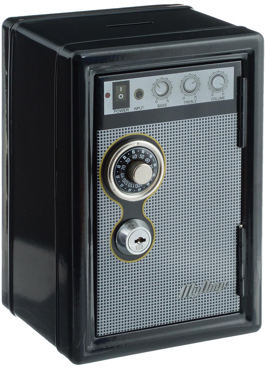 Копилка-сейф Эврика Радио-ретро, с ключами, цвет: черный, серый97447Копилка-сейф Эврика Радио-ретро своим винтажным дизайном напоминает старинный радиоприемник. Ручка настройки частоты - это на самом деле ручка кодового замка. Замок-щеколда открывается поворотом до характерного звука. Под ним расположен замок, к которому прилагается комплект из двух ключей. Внутри содержатся два отделения - для хранения бумаг и выдвижной пластиковый ящик для мелочи. Сверху расположен слот для монет. Такая копилка станет приятным и практичным подарком, который поможет надежно хранить ценные вещи и деньги. Рекомендуется хранить запасной ключ отдельно, на случай утраты основного.