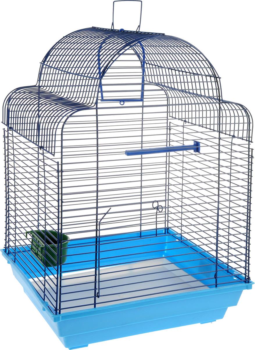 Клетка для птиц ЗооМарк Купола, цвет: синий поддон, синяя решетка, 35 х 29 х 51 см460ССКлетка ЗооМарк Купола, выполненная из полипропилена и металла, предназначена для мелких птиц.Изделие состоит из большого поддона и решетки. Клетка снабжена металлической дверцей. В основании клетки находится малый поддон. Клетка удобна в использовании и легко чистится. Она оснащена жердочкой, кольцом для птицы, кормушкой и подвижной ручкой для удобной переноски. Комплектация: - клетка с поддоном, - малый поддон; - кормушка; - кольцо; - жердочка.