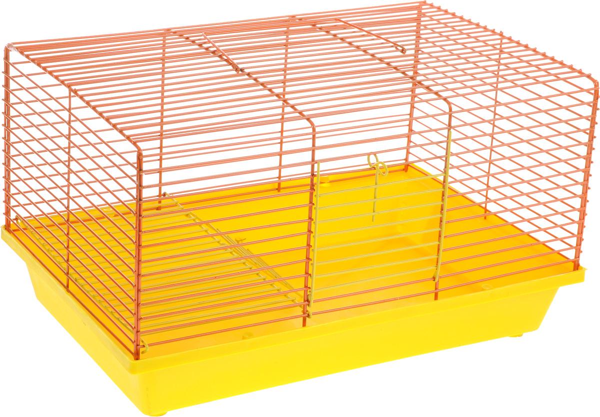 Клетка для хомяка ЗооМарк, 2-этажная, цвет: желтый поддон, оранжевая решетка, 36 х 23 х 20 см111ЖОДвухэтажная клетка Зоомарк, выполненная из полипропилена и металла, подходит для хомяков или других небольших грызунов. Она имеет яркий поддон, удобна в использовании и легко чистится. Сверху имеется ручка для переноски.Такая клетка станет уединенным личным пространством и уютным домиком для маленького грызуна.