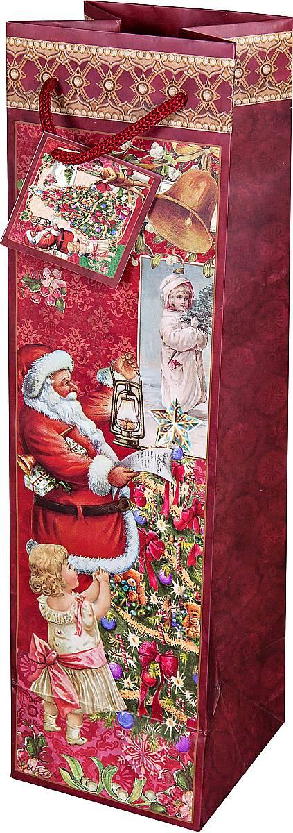 """Подарочный пакет для бутылки """"Mister Christmas"""", изготовленный из плотной бумаги, станет незаменимым дополнением к выбранному подарку. Дно изделия укреплено картоном, который позволяет сохранить форму пакета и исключает возможность деформации дна под тяжестью подарка. Для удобной переноски имеются две текстильные ручки в виде шнурков.Подарок, преподнесенный в оригинальной упаковке, всегда будет самым эффектным и запоминающимся. Окружите близких людей вниманием и заботой, вручив презент в нарядном, праздничном оформлении."""