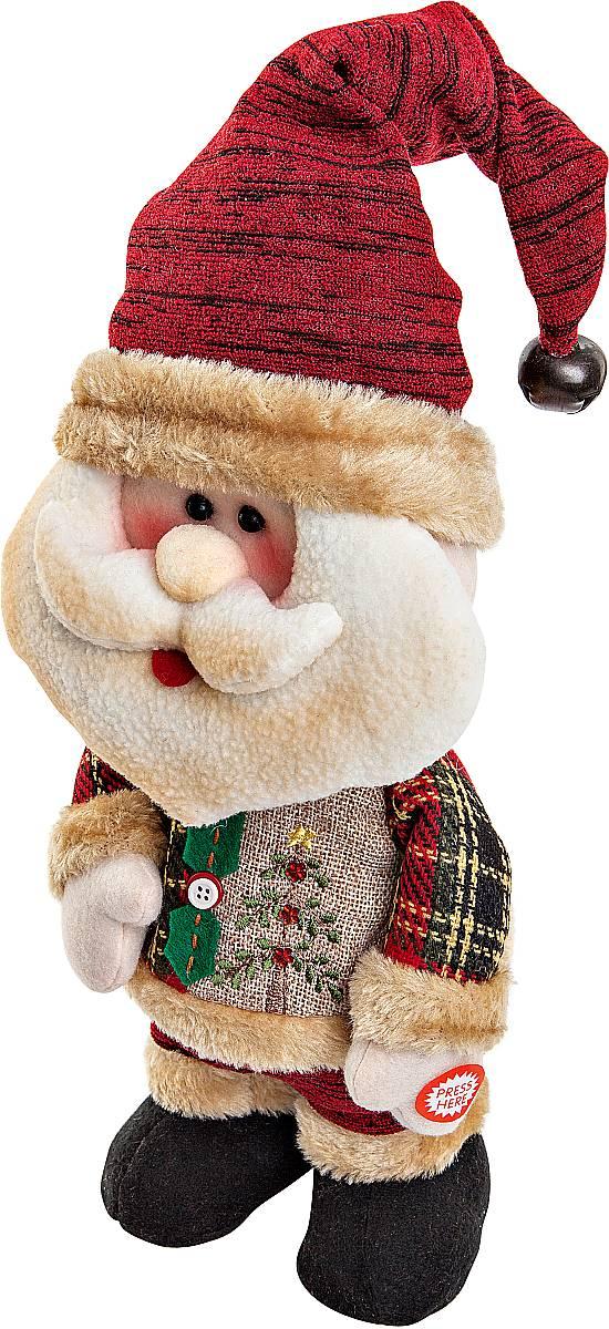 Игрушка новогодняя Mister Christmas Дед Мороз, электромеханическая, высота 33 смCHL-244SNНовогодняя пляшущая и поющая игрушка Mister Christmas Дед Мороз послужит оригинальным подарком в преддверии Нового года.Внешний вид сувенира весьма незатейлив. Изделие выполнено в виде Деда Мороза и дополнено колпаком с бубенчиком. При нажатии игрушка начинает двигаться в такт песни (PSY - Gangnam Style). Несмотря на столь ритмичные движения, механизм игрушки прослужит очень и очень долго. Все материалы, входящие в состав игрушки, прошли тщательные проверки и отличаются высочайшим качеством. Так же стоит отметить и то, что все материалы экологичны и безопасны. Работает от батареек (входят в комплект). Собираясь на празднование Нового года, прихватите с собой новогоднюю музыкальную игрушку Mister Christmas Дед Мороз, ведь это подарок, который говорит сам за себя!Высота игрушки: 33 см.