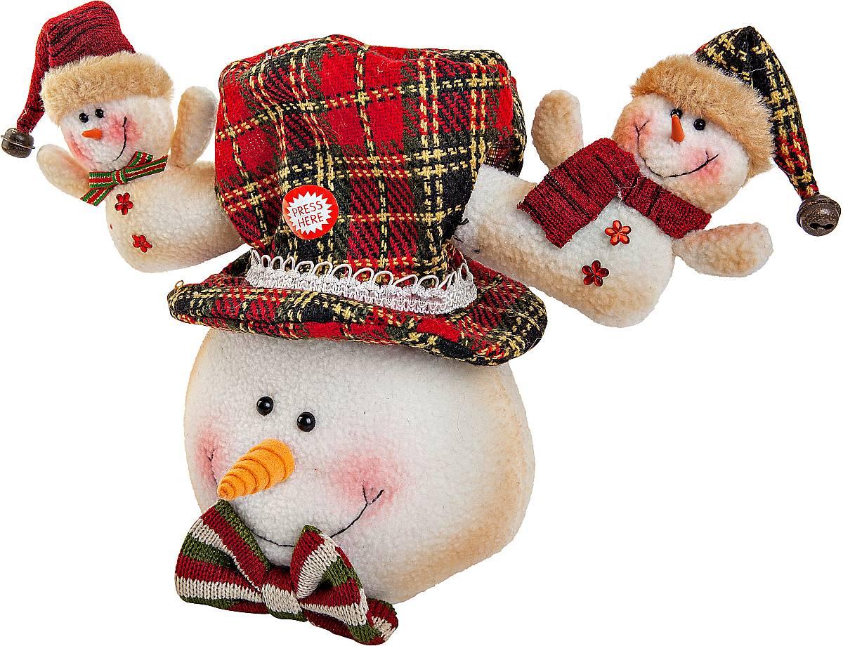 Игрушка новогодняя Mister Christmas Снеговик, электромеханическая, высота 30 смCHL-312SMНовогодняя пляшущая и поющая игрушка Mister Christmas Снеговик послужит оригинальным подарком в преддверии Нового года.Внешний вид сувенира весьма незатейлив. Изделие выполнено в виде головы снеговика в шляпе, дополнением служат рога с фигурами снеговиков. При нажатии на эти рожки игрушка начинает двигаться в такт песни. Несмотря на столь ритмичные движения, механизм игрушки прослужит очень и очень долго. Все материалы, входящие в состав игрушки, прошли тщательные проверки и отличаются высочайшим качеством. Так же стоит отметить и то, что все материалы экологичны и безопасны. Работает от батареек (входят в комплект).Собираясь на празднование Нового года, прихватите с собой новогоднюю музыкальную игрушку Mister Christmas Снеговик, ведь это подарок, который говорит сам за себя!Высота игрушки: 30 см.