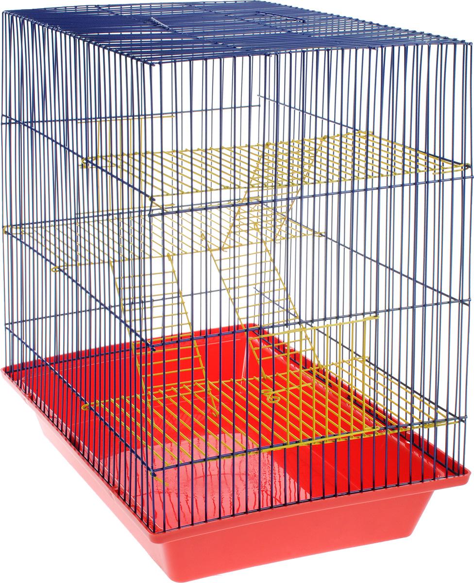 Клетка для грызунов ЗооМарк Гризли, 4-этажная, цвет: красный поддон, синяя решетка, желтые этажи, 41 х 30 х 50 см. 240ж240жКСКлетка ЗооМарк Гризли, выполненная из полипропилена и металла, подходит для мелких грызунов. Изделие четырехэтажное. Клетка имеет яркий поддон, удобна в использовании и легко чистится. Сверху имеется ручка для переноски.Такая клетка станет уединенным личным пространством и уютным домиком для маленького грызуна.