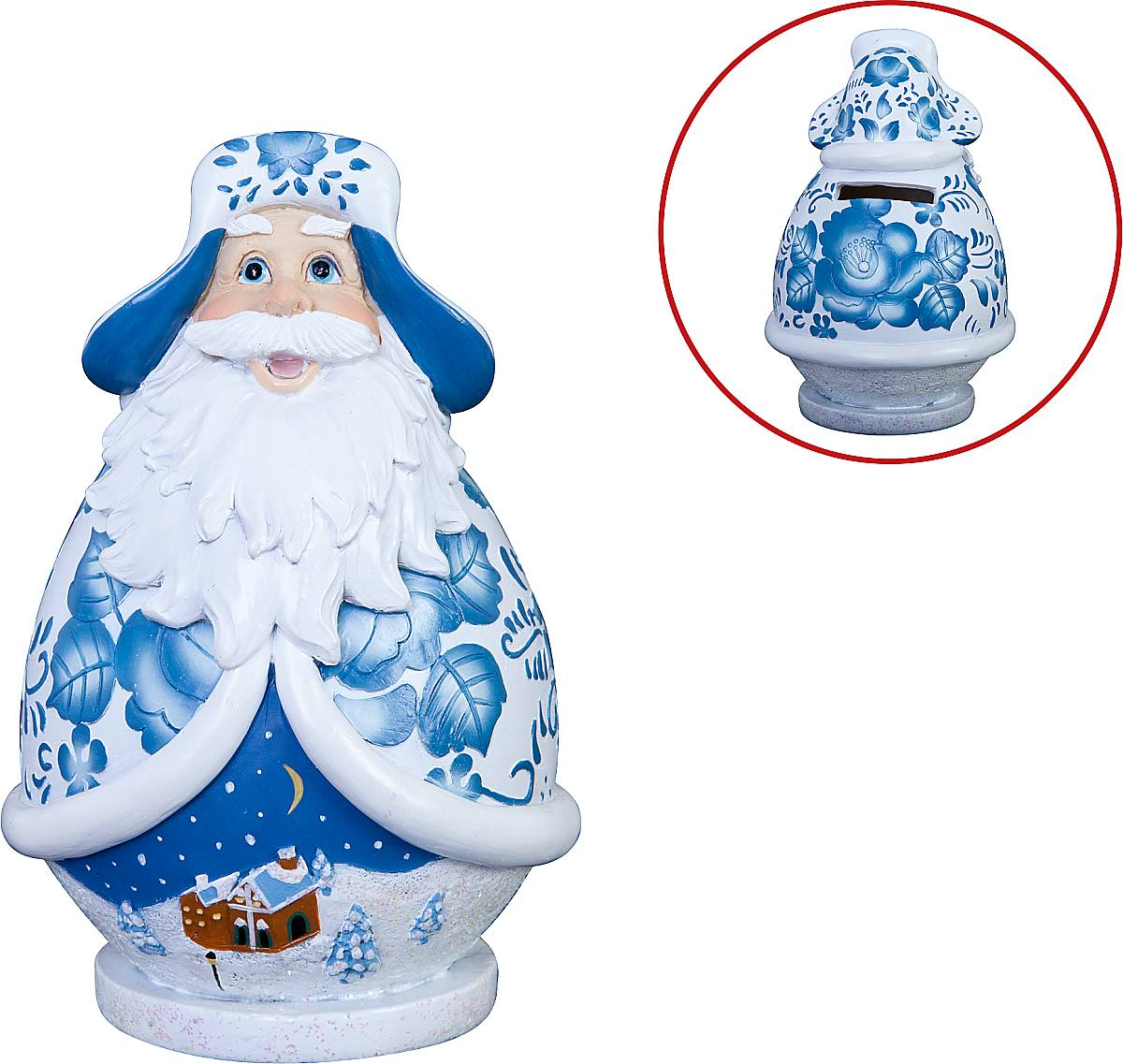 Копилка Mister Christmas Дед Мороз, высота 13 смDKMB-01Декоративная копилка Mister Christmas Дед Мороз изготовленная из полистоуна, станет отличным украшением интерьера вашего дома или офиса. На задней стенке имеется прорезь для монет. На дне расположен клапан, через который можно достать деньги.Яркий оригинальный дизайн сделает такую копилку прекрасным подарком. Она послужит не только по своему прямому назначению, но и красиво дополнит интерьер комнаты в преддверии Нового года.Высота копилки: 13 см.