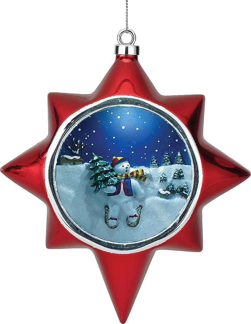 Украшение новогоднее Mister Christmas Снеговик, музыкальное, высота 13 смG14282Украшение в виде звезды Mister Christmas Снеговик выглядит как обычная елочная игрушка. Но, стоит взмахнуть волшебной палочкой, которая идет в комплект, как она открывает вам свой Рождественский секрет! Снеговик на лыжах с небольшой пушистой елочкой в руке - чудесная картинка, открывающаяся обладателю заветной волшебной палочки! Такие сувениры станут прекрасным украшением новогодней елки, и не оставят равнодушными ни взрослых, ни уж тем более, детишек! Проигрываются 15 рождественских мелодий.Высота украшения: 13 см.