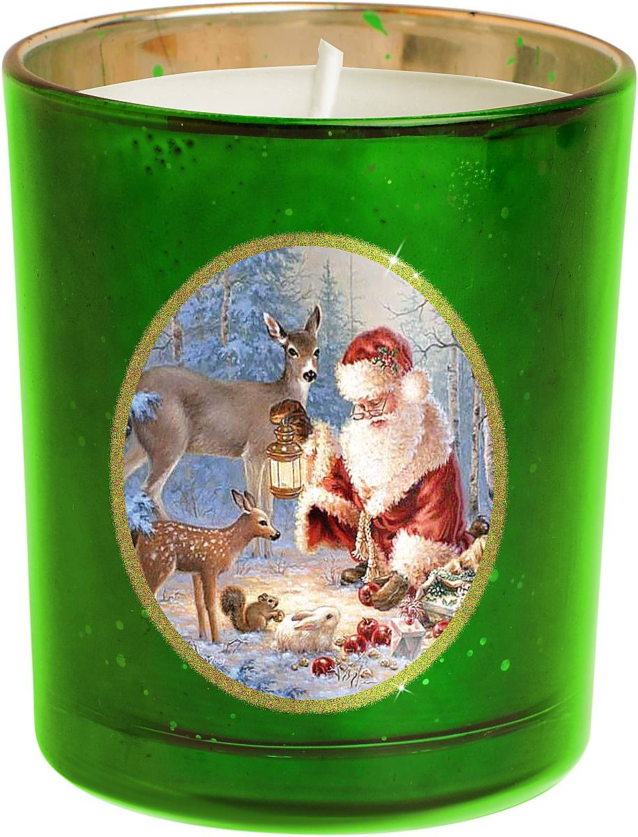 Свеча новогодняя Mister Christmas Зимняя сказка, цвет: зеленый, золотистый, высота 8 смKG-G1На первый взгляд может показаться, что свеча - ужедовольно банальный подарок на Новый год. Но свечитоже бывают разные. Декоративная свеча MisterChristmas Зимняя сказка выполнена из качественноговоска, она помещена в подсвечник в виде стакана.Подсвечник изготовлен из прочного толстого стекла, а настенку нанесен рисунок - новогодний сюжет: Дед Мороз вкомпании со своими оленями готовится к празднику взаснеженном лесу. Рисунок выполнен качественнымистойкими красками. Каждая линия, каждая черточка - всеэто сделано вручную.Такая свеча атмосферно украсит праздничный стол домаили рабочее место в офисе.