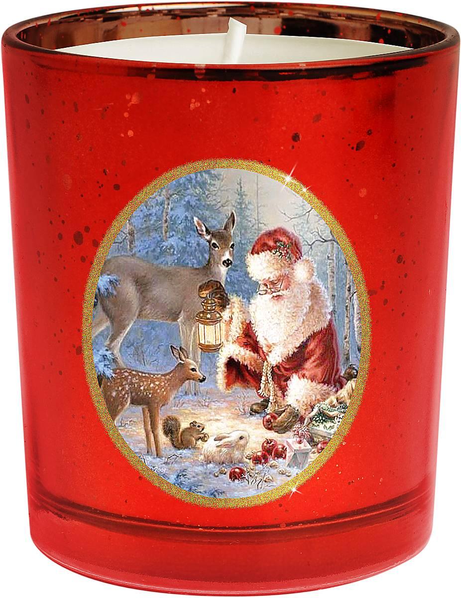 Свеча новогодняя Mister Christmas Зимняя сказка, цвет: красный, золотистый, высота 8 смKG-G2На первый взгляд может показаться, что свеча - уже довольно банальный подарок на Новый год. Но свечи тоже бывают разные. Декоративная свеча Mister Christmas Зимняя сказка выполнена из качественного воска, она помещена в подсвечник в виде стакана. Подсвечник изготовлен из прочного толстого стекла, а на стенку нанесен рисунок - новогодний сюжет: Дед Мороз в компании со своими оленями готовится к празднику в заснеженном лесу. Рисунок выполнен качественными стойкими красками. Каждая линия, каждая черточка - все это сделано вручную. Такая свеча атмосферно украсит праздничный стол дома или рабочее место в офисе.