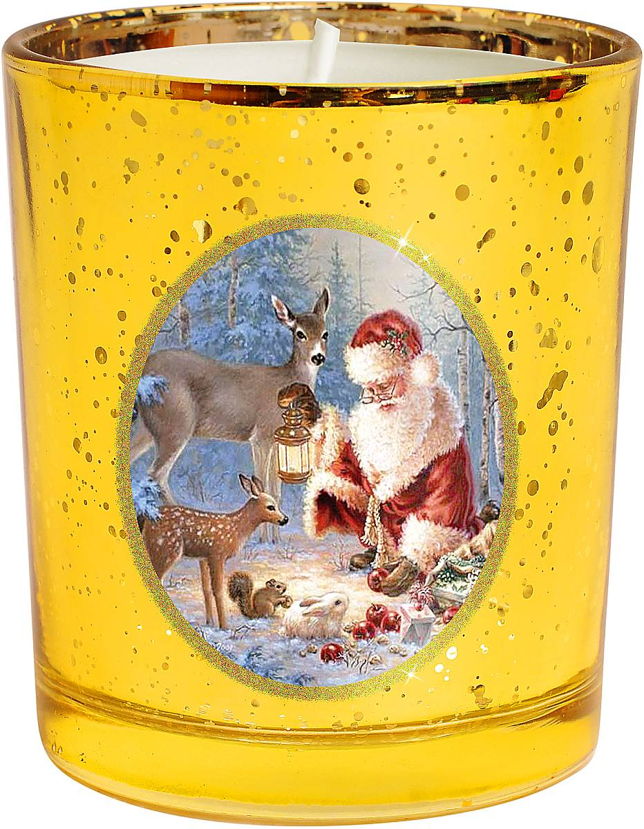 """На первый взгляд может показаться, что свеча - уже  довольно банальный подарок на Новый год. Но свечи  тоже бывают разные. Декоративная свеча Mister  Christmas """"Зимняя сказка"""" выполнена из качественного  воска, она помещена в подсвечник в виде стакана.  Подсвечник изготовлен из прочного толстого стекла, а на  стенку нанесен рисунок - новогодний сюжет: Дед Мороз в  компании со своими оленями готовится к празднику в  заснеженном лесу. Рисунок выполнен качественными  стойкими красками. Каждая линия, каждая черточка - все  это сделано вручную.  Такая свеча атмосферно украсит праздничный стол дома  или рабочее место в офисе."""