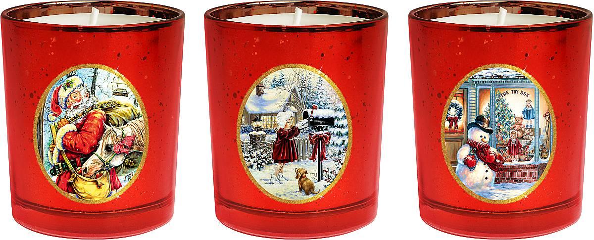 Набор новогодних свечей Mister Christmas Зимняя сказка, высота 7 см. KG-SET-2KG-SET-2Новогодняя атмосфера - это долгожданная пора, которую ждет каждый. Разноцветные огни, веселая музыка, ожидание чудес. Сделать этот праздник более теплым поможет набор свечей Mister Christmas Зимняя сказка. Этот набор станет отличным новогодним подарком для ваших близких, друзей или коллег. В набор входят 3 свечки, которые выполнены из качественного воска. Свечи помещены в подсвечники из толстого стекла. На каждом подсвечнике - картинка с новогодним сюжетом: Дед Мороз с большим мешком подарков; маленькая девочка, отправляющая письмо в Лапландию; снеговик, приглашающий посетить бутик с новогодними подарками. Такие свечи празднично украсят любой интерьер. Их можно поставить на праздничный стол, на полку или окно. Ими можно украсить рабочее место в офисе. Они обязательно принесут с собой уют и тепло. Такой чудесный подарок в Новый год никого не оставит равнодушным.