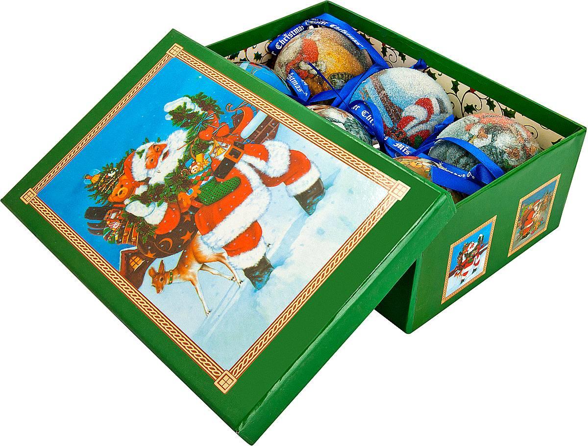 Набор новогодних подвесных украшений Mister Christmas Папье-маше, диаметр 7,5 см, 6 шт. PM-15-6 feron 6214 11207