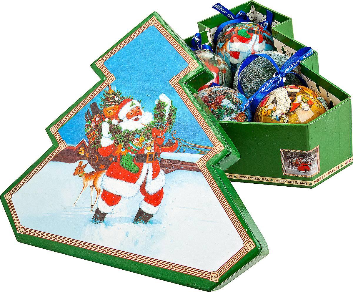 Набор новогодних подвесных украшений Mister Christmas Папье-маше, диаметр 7,5 см, 6 шт. PM-15-6TPM-15-6TНабор из 6 подвесных украшений Mister ChristmasПапье-маше прекрасно подойдет для праздничногодекора новогодней ели. Изделия, выполненные избумаги и покрытые несколькими слоями лака, оченьпрочные и легкие. Такие шары создадут единый стиль воформлении не только ели, но и интерьера вашего дома.В наборе игрушки имеют глянцевую поверхность ипокрытые мелкой пластиковой крошкой. Все изделия оснащены атласной ленточкой с логотипомбренда Mister Christmas для подвешивания.Такие украшения станут превосходным подарком кНовому году, а так же дополнят коллекцию оригинальныхновогодних елочных игрушек.