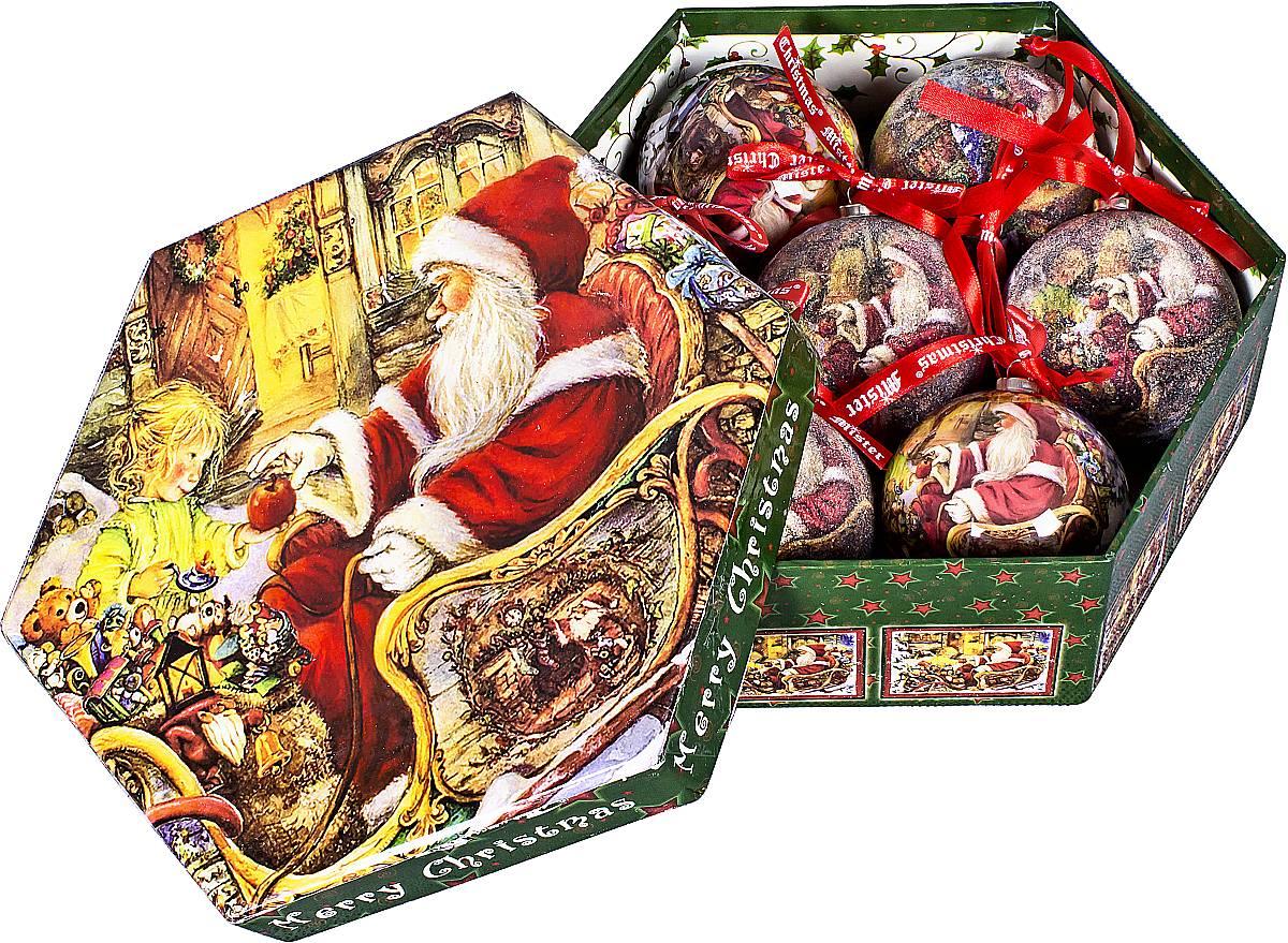 Набор новогодних подвесных украшений Mister Christmas Папье-маше, диаметр 7,5 см, 7 шт. PM-21-7PM-21-7Набор из 7 подвесных украшений Mister Christmas Папье-маше прекрасно подойдет для праздничного декора новогодней ели. Изделия, выполненные из бумаги и покрытые несколькими слоями лака, очень прочные и легкие. Такие шары создадут единый стиль в оформлении не только ели, но и интерьера вашего дома. В наборе игрушки имеют глянцевую поверхность и покрытые мелкой пластиковой крошкой.Все изделия оснащены атласной ленточкой с логотипом бренда Mister Christmas для подвешивания. Такие украшения станут превосходным подарком к Новому году, а так же дополнят коллекцию оригинальных новогодних елочных игрушек.