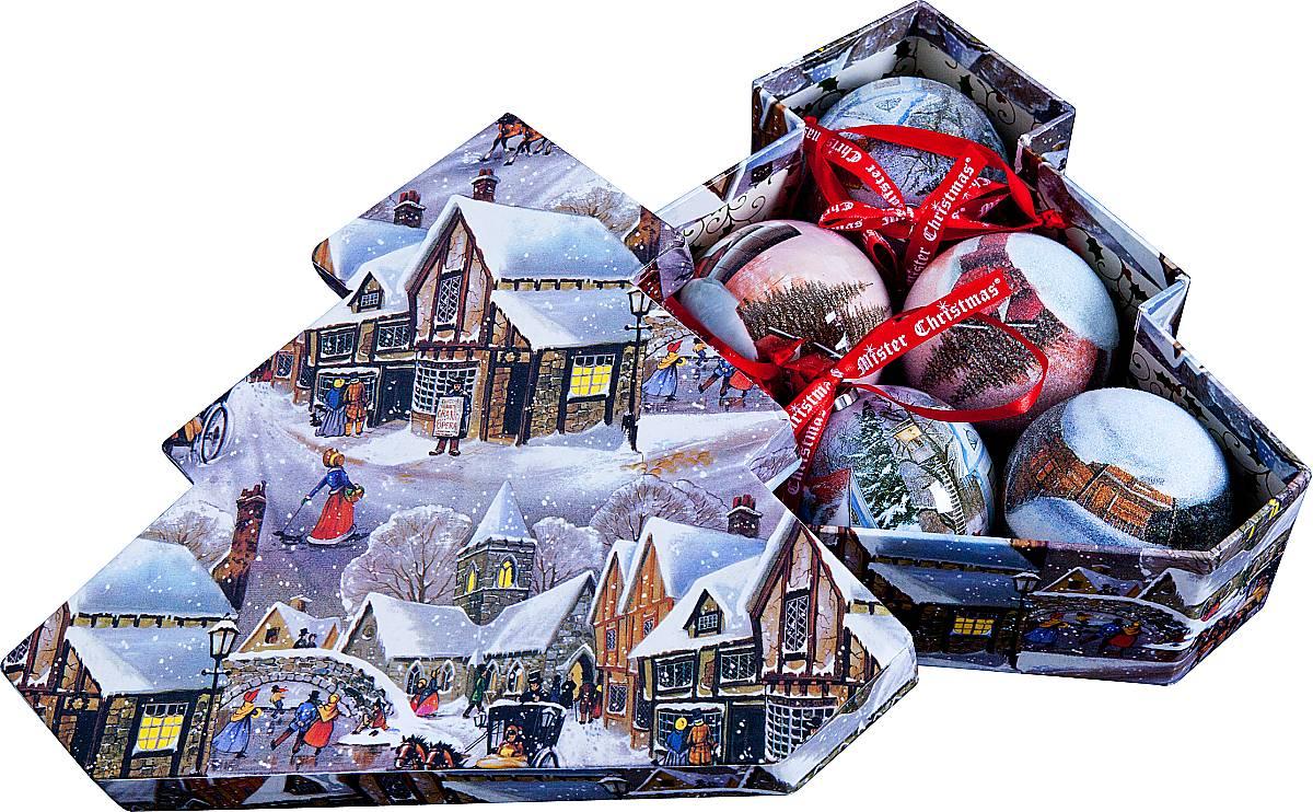 Набор новогодних подвесных украшений Mister Christmas Папье-маше, диаметр 7,5 см, 6 шт. PM-24-6TPM-24-6TНабор из 6 подвесных украшений Mister Christmas Папье-маше прекрасно подойдет для праздничного декора новогодней ели. Изделия, выполненные из бумаги и покрытые несколькими слоями лака, очень прочные и легкие. Такие шары создадут единый стиль в оформлении не только ели, но и интерьера вашего дома. В наборе игрушки имеют глянцевую поверхность и покрытые мелкой пластиковой крошкой.Все изделия оснащены атласной ленточкой с логотипом бренда Mister Christmas для подвешивания. Такие украшения станут превосходным подарком к Новому году, а так же дополнят коллекцию оригинальных новогодних елочных игрушек.