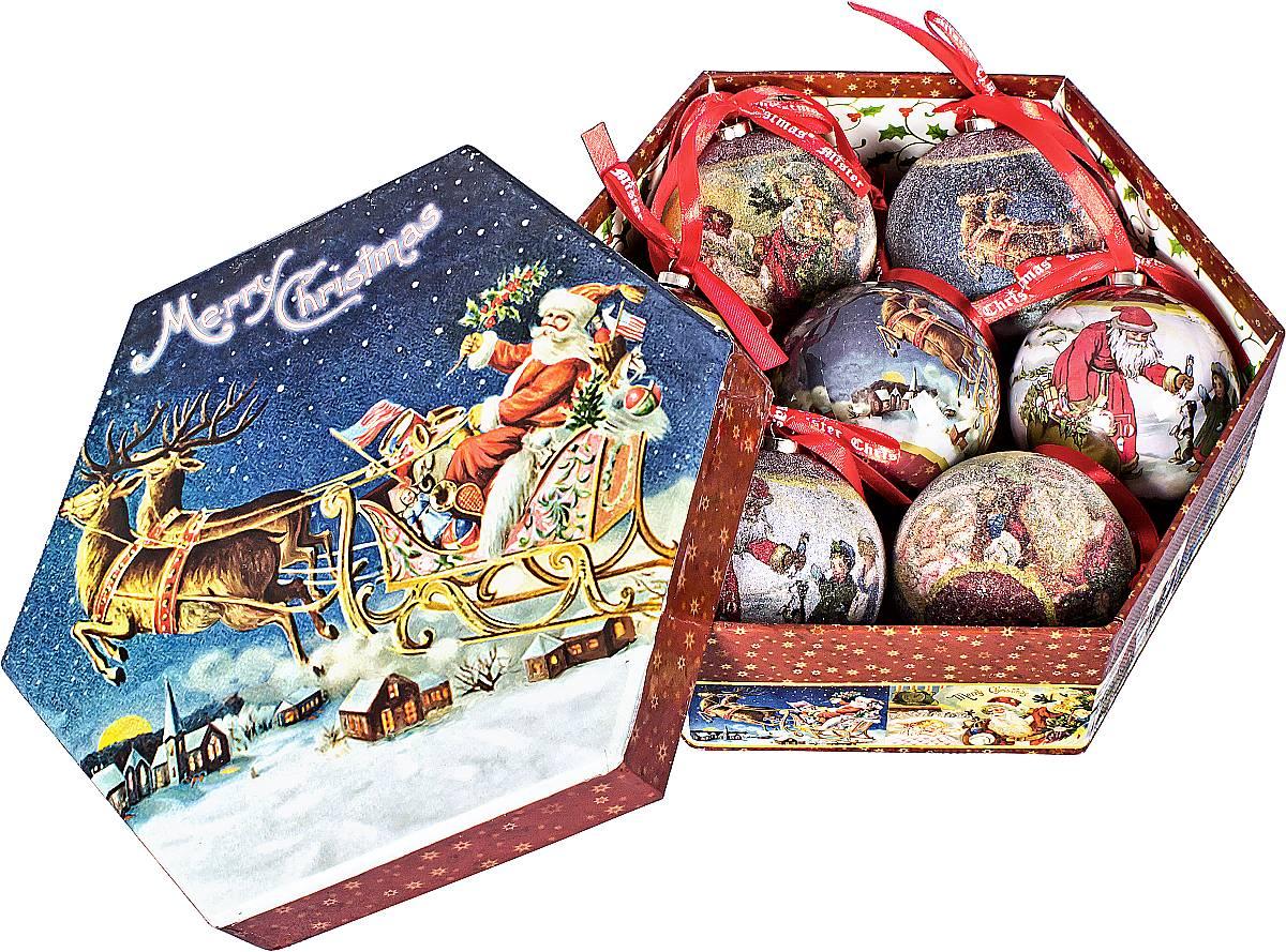 Набор новогодних подвесных украшений Mister Christmas Папье-маше, диаметр 7,5 см, 7 шт. PM-41-7PM-41-7Набор Mister Christmas Папье-маше состоит из 6 подвесных украшений ручной работы, которые изготовлены из бумаги и покрыты несколькими слоями лака или мелкой пластиковой крошкой. Такие шары очень легкие, но в то же время удивительно прочные. На создание одной такой игрушки уходит несколько дней. И в результате получается настоящее произведение искусства! Все изделия оснащены атласной ленточкой с логотипом бренда Mister Christmas для подвешивания. Такие украшения станут превосходным подарком к Новому году, а так же дополнят коллекцию оригинальных новогодних елочных игрушек.
