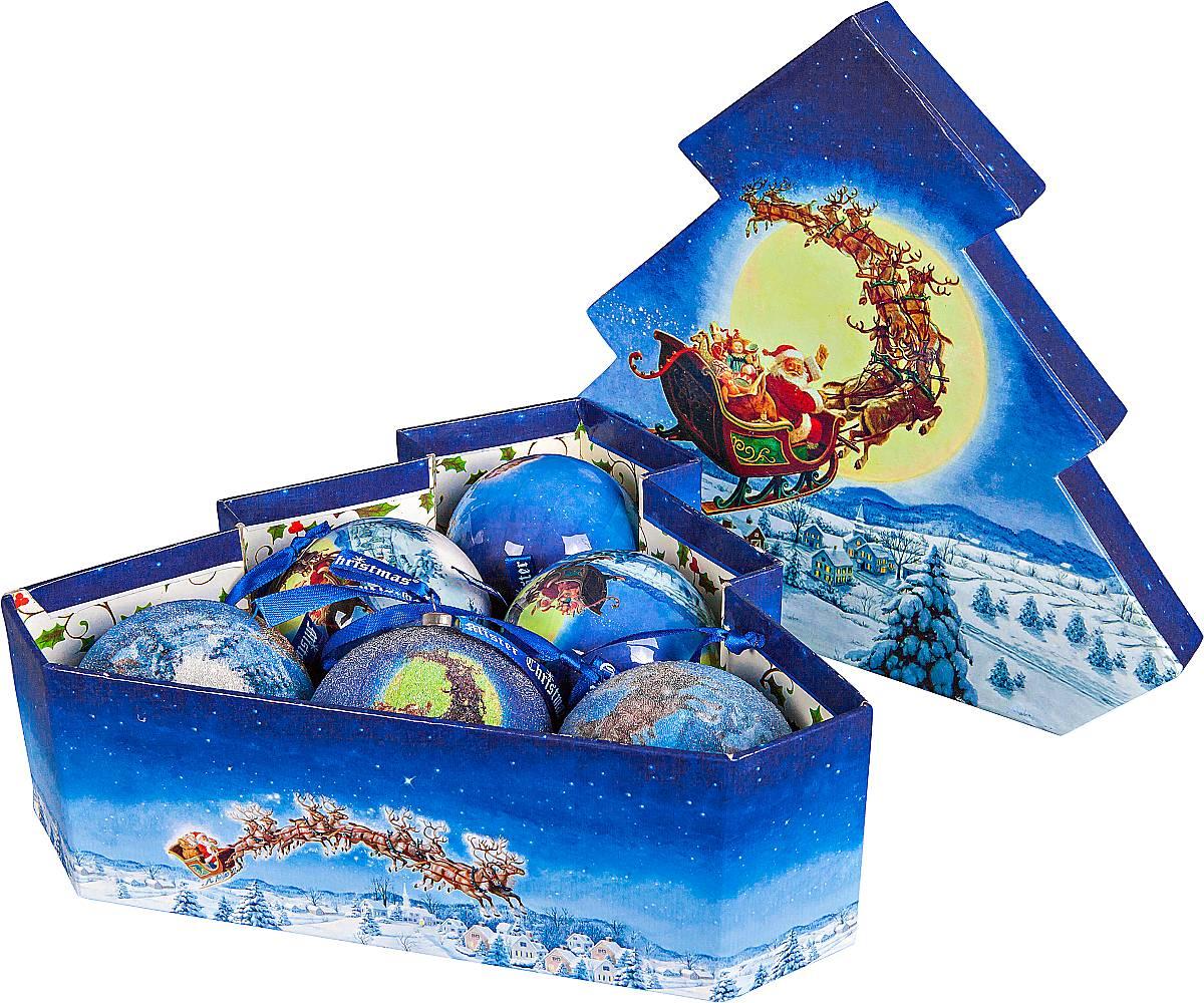 Набор новогодних подвесных украшений Mister Christmas Папье-маше, диаметр 7,5 см, 6 шт. PM-70-6T mister christmas 1 6 м douglas gold pine 160