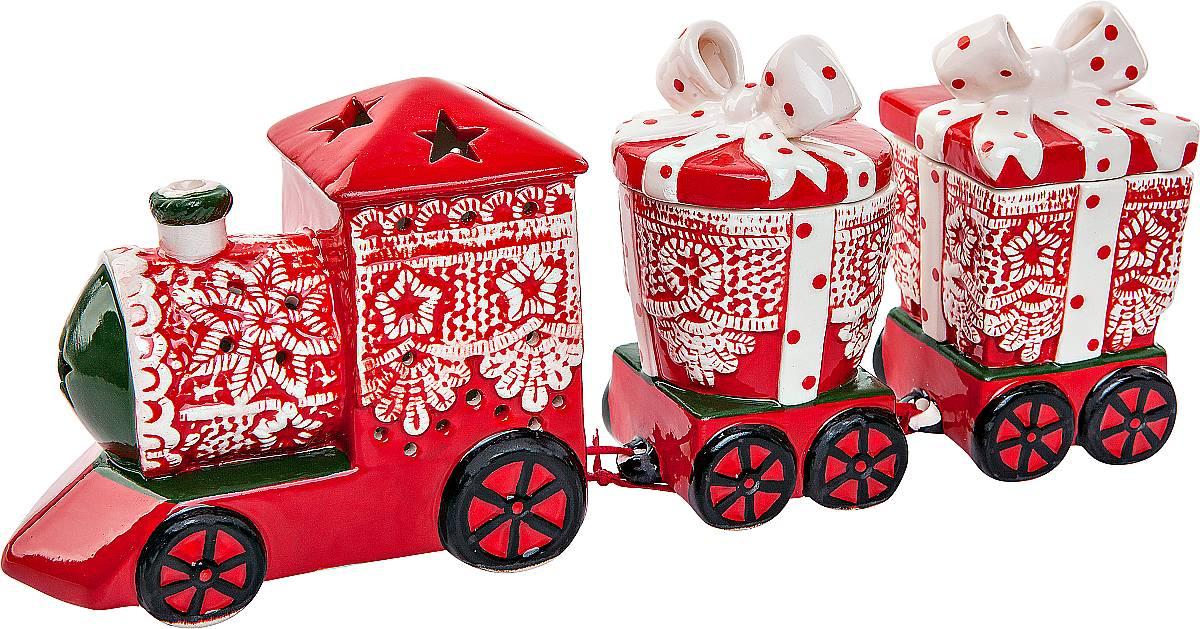 Подсвечник Mister Christmas Поезд, высота 11 смSGL-27Подсвечник Mister Christmas Поезд выполнен из керамики в виде поезда. Оригинальный дизайн и красочное исполнение создадут праздничное настроение. Вы можете поставить такой подсвечник в любом месте, где он будет удачно смотреться, и радовать глаз. Кроме того такой он станет отличным вариант подарка для ваших близких и друзей в преддверии Нового года.