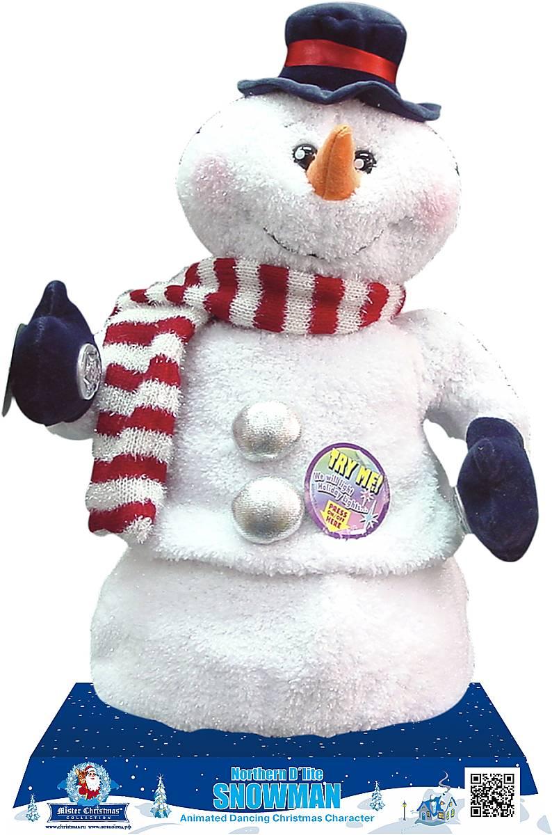 Игрушка новогодняя Mister Christmas Снеговик, электромеханическая, высота 40 смSM-62019Новогодняя музыкальная игрушка Mister Christmas Снеговик приятно удивит и порадует. Снеговик выглядит таким, каким мы привыкли его себе представлять: белоснежные тело и голова, маленькие черные глаза-бусинки, нос-морковка, варежки, шляпка, шарф, сапожки. Электромеханическая игрушка порадует своими способностями. После нажатия на кнопку, расположенную на варежке, игрушка поздравит с новым годом, споет веселую новогоднюю песню и станцует зажигательный танец. И подсветит свое представление яркими светодиодными огнями, встроенными в щеки. Она полностью соответствует заявленным техническим характеристикам и отличается высоким качеством. Игрушка будет радовать вас долго, если не забывать вовремя заменять батарейки. В снеговика встроен надежный механизм, который прослужит много лет. Материалы, из которых выполнен новогодний сувенир: текстиль и полимеры, - натуральные, прочные и безопасные. Такую примечательную вещицу можно поставить к подаркам под елку, а можно украсить ею любой уголок дома. Такой подарок принесет удовольствие и детям, и взрослым. Работает игрушка как от батареек, так и от сети (адаптер в комплекте).