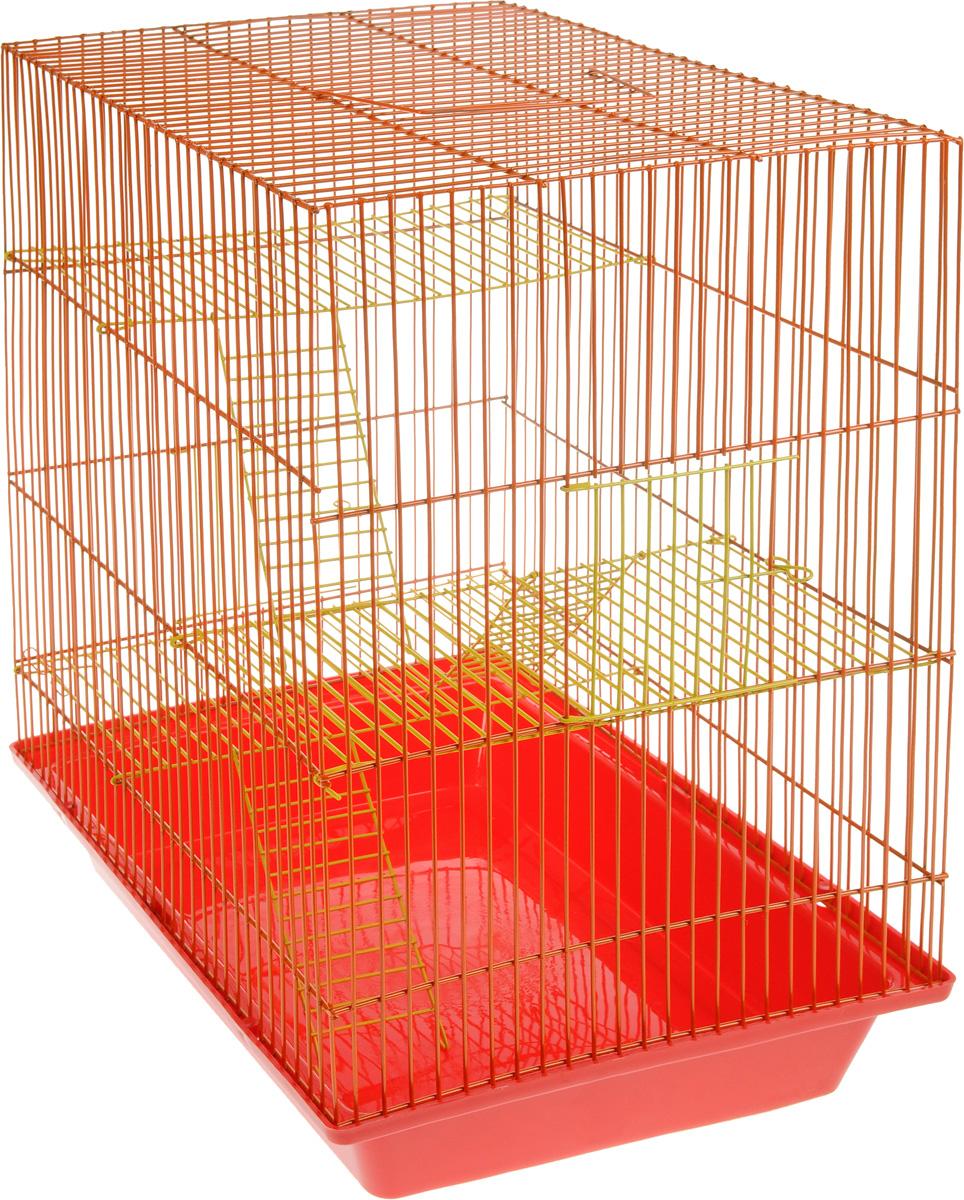 Клетка для грызунов ЗооМарк Гризли, 4-этажная, цвет: красный поддон, оранжевая решетка, желтые этажи, 41 х 30 х 50 см240жКОКлетка ЗооМарк Гризли, выполненная из полипропилена и металла, подходит для мелких грызунов. Изделие четырехэтажное. Клетка имеет яркий поддон, удобна в использовании и легко чистится. Сверху имеется ручка для переноски.Такая клетка станет уединенным личным пространством и уютным домиком для маленького грызуна.