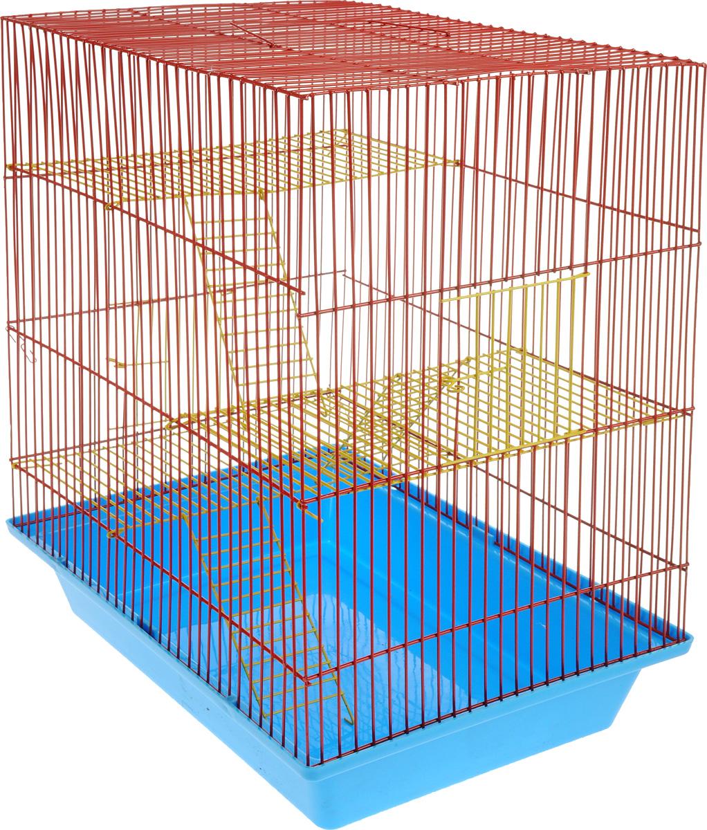 Клетка для грызунов ЗооМарк Гризли, 4-этажная, цвет: синий поддон, красная решетка, желтые этажи, 41 х 30 х 50 см240жСККлетка ЗооМарк Гризли, выполненная из полипропилена и металла, подходит для мелких грызунов. Изделие четырехэтажное. Клетка имеет яркий поддон, удобна в использовании и легко чистится. Сверху имеется ручка для переноски.Такая клетка станет уединенным личным пространством и уютным домиком для маленького грызуна.
