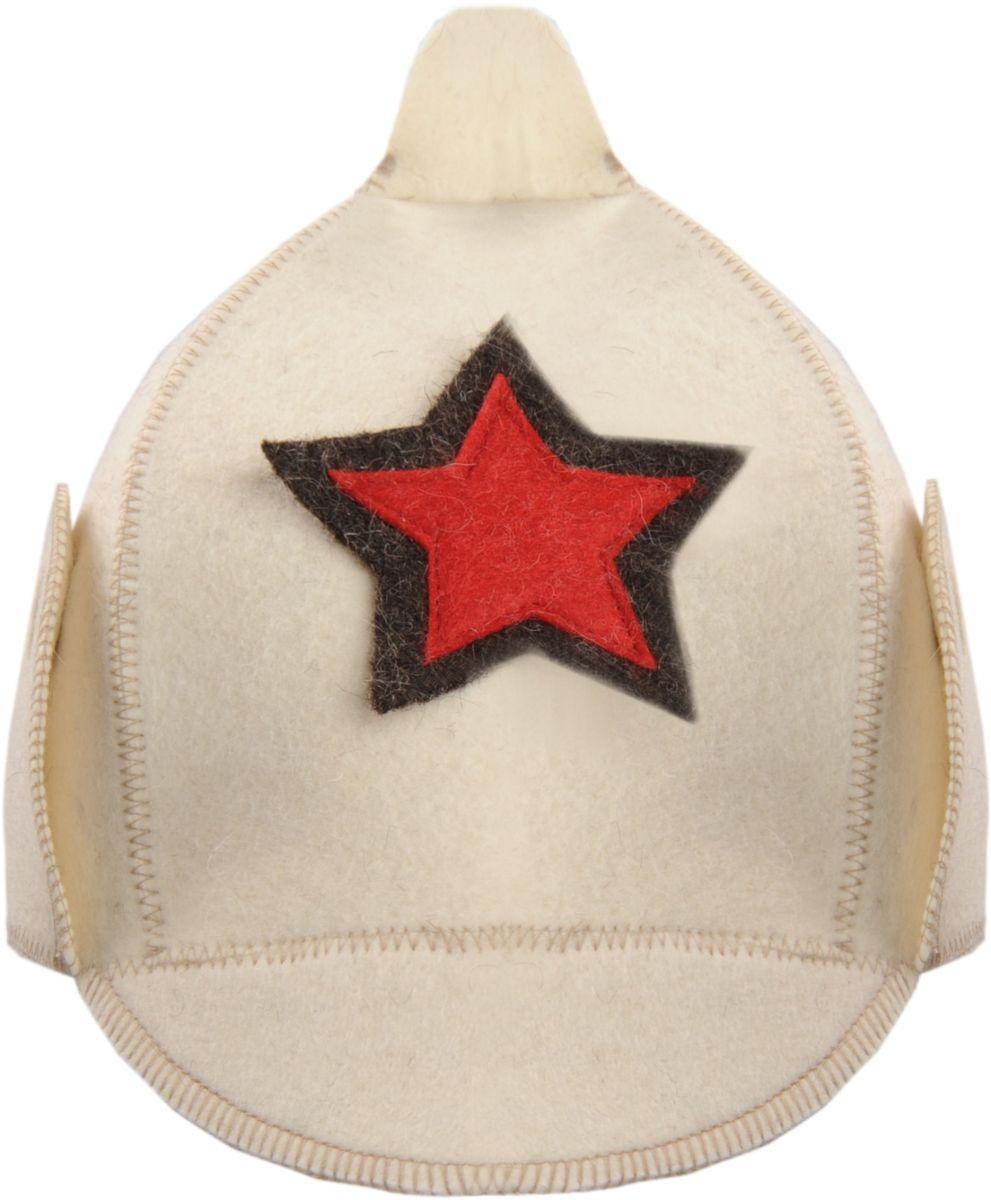 Шапка для бани и сауны Красноармеец, цвет: белый наборы аксессуаров для бани proffi набор подарочный для бани и сауны звезда веник березовый шапка банная