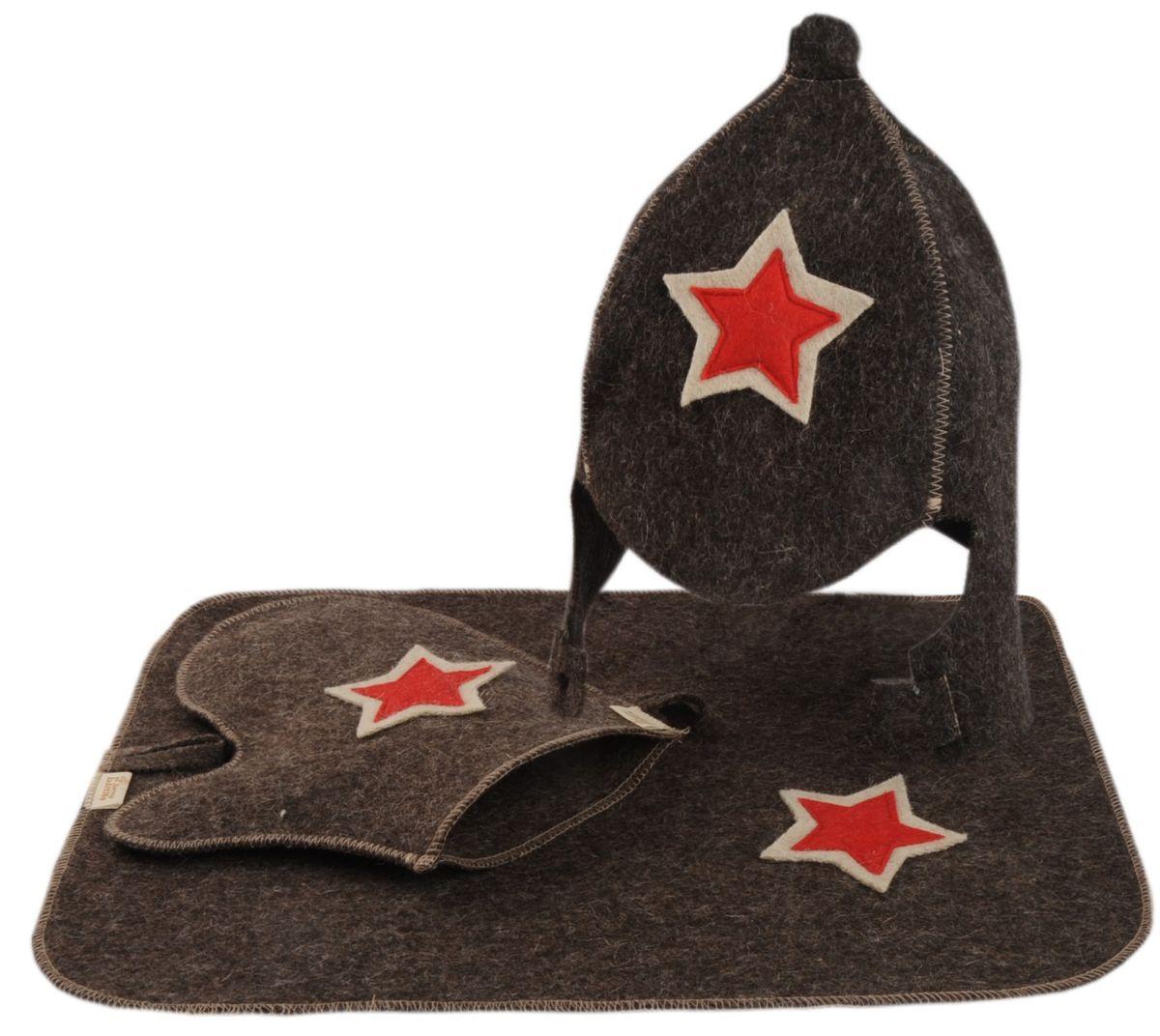 Набор для бани и сауны Буденовка, цвет: серый, 3 предмета шапка для бани и сауны доктор баня классическая кант