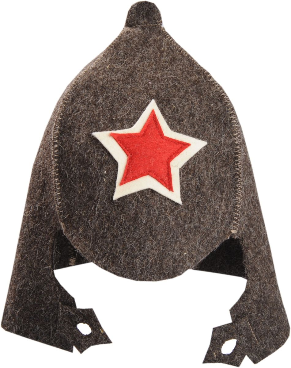 """Шапка для бани и сауны Доктор Баня """"Буденовка"""", цвет: серо-коричневый. Размер 56-58"""