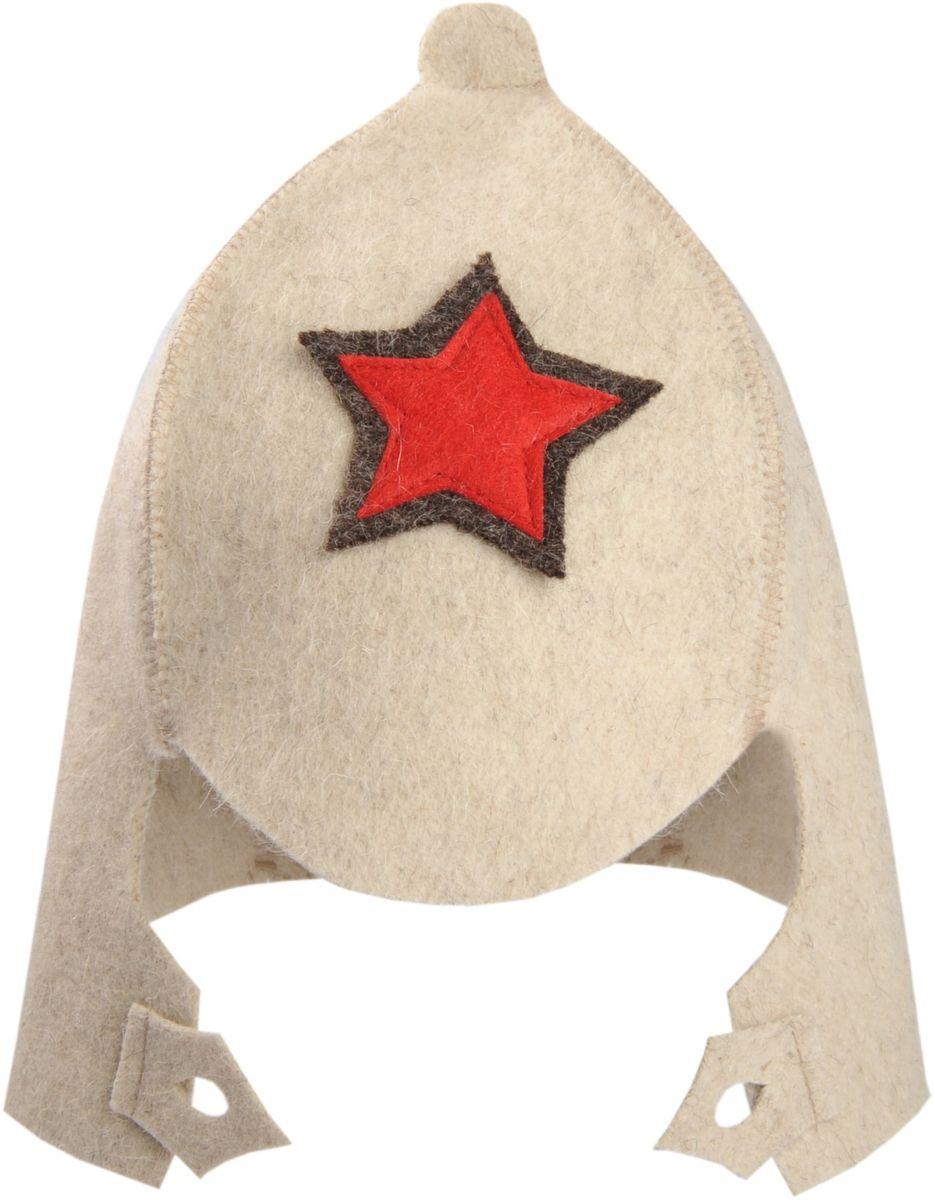 Шапка для бани и сауны Доктор Баня Буденовка, цвет: белый, красный. Размер 56-58 шапка для бани и сауны доктор баня классическая кант