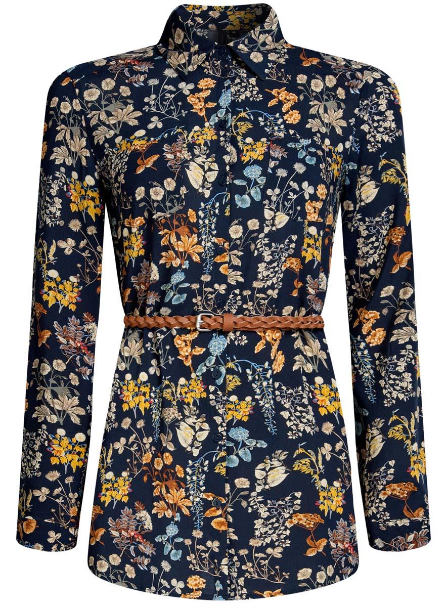 Блузка женская oodji Collection, цвет: темно-синий, оранжевый. 21412057-4/24681/7955F. Размер 38 (44-170)21412057-4/24681/7955FСтильная женская рубашка oodji Collection выполнена из качественной вискозы. Модель с отложным воротником и длинными рукавами застегивается на пуговицы по всей длине. Рубашка удлиненной модели дополнена стильным ремешком из искусственной кожи и двумя накладными карманами спереди. Манжеты рукавов оснащены застежками-пуговицами, а также их можно сделать покороче с помощью внутреннего хлястика на пуговице. Модель оформлена контрастным принтом с узорами. Рукава дополнены манжетами с кнопками.