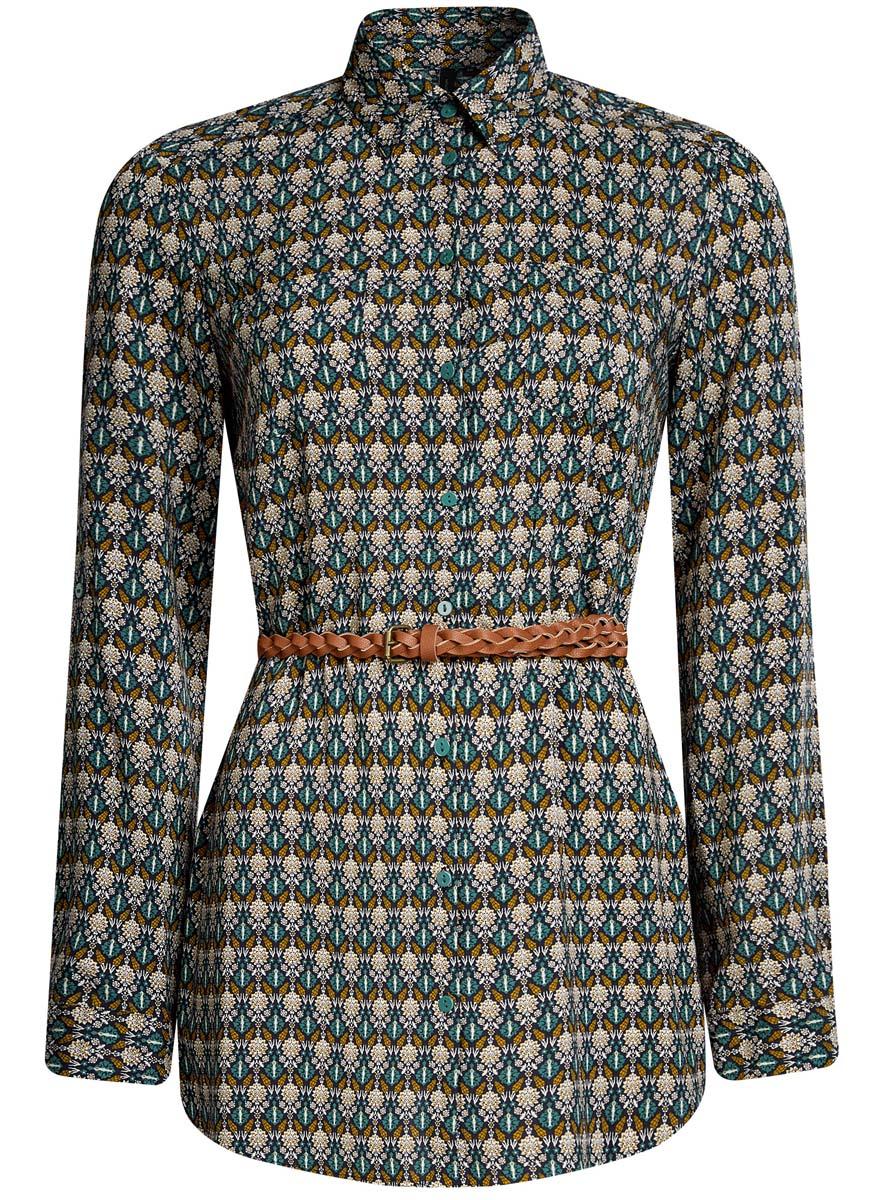 Блузка женская oodji Collection, цвет: темно-изумрудный, бежевый. 21412057-4/24681/6E33E. Размер 42 (48-170) платье oodji collection цвет черный белый 24001104 1 35477 1079s размер l 48