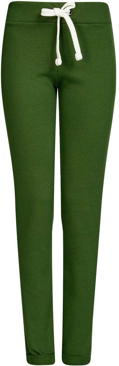 Купить Брюки спортивные женские oodji Ultra, цвет: темно-зеленый. 16701010B/46980/6900N. Размер M (46)