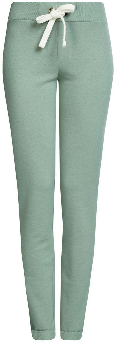 Брюки спортивные женские oodji Ultra, цвет: серо-зеленый. 16701010B/46980/6200N. Размер S (44)16701010B/46980/6200NСпортивные женские брюки oodji Ultra выполнены из натурального хлопка. Изнаночная сторона изделия с мягким начесом. Модель имеет широкую резинку на поясе, объем талии регулируется при помощи шнурка-кулиски. Сзади брюки дополнены имитацией прорезного кармана. Снизу брючины оснащены декоративными отворотами на резинках.