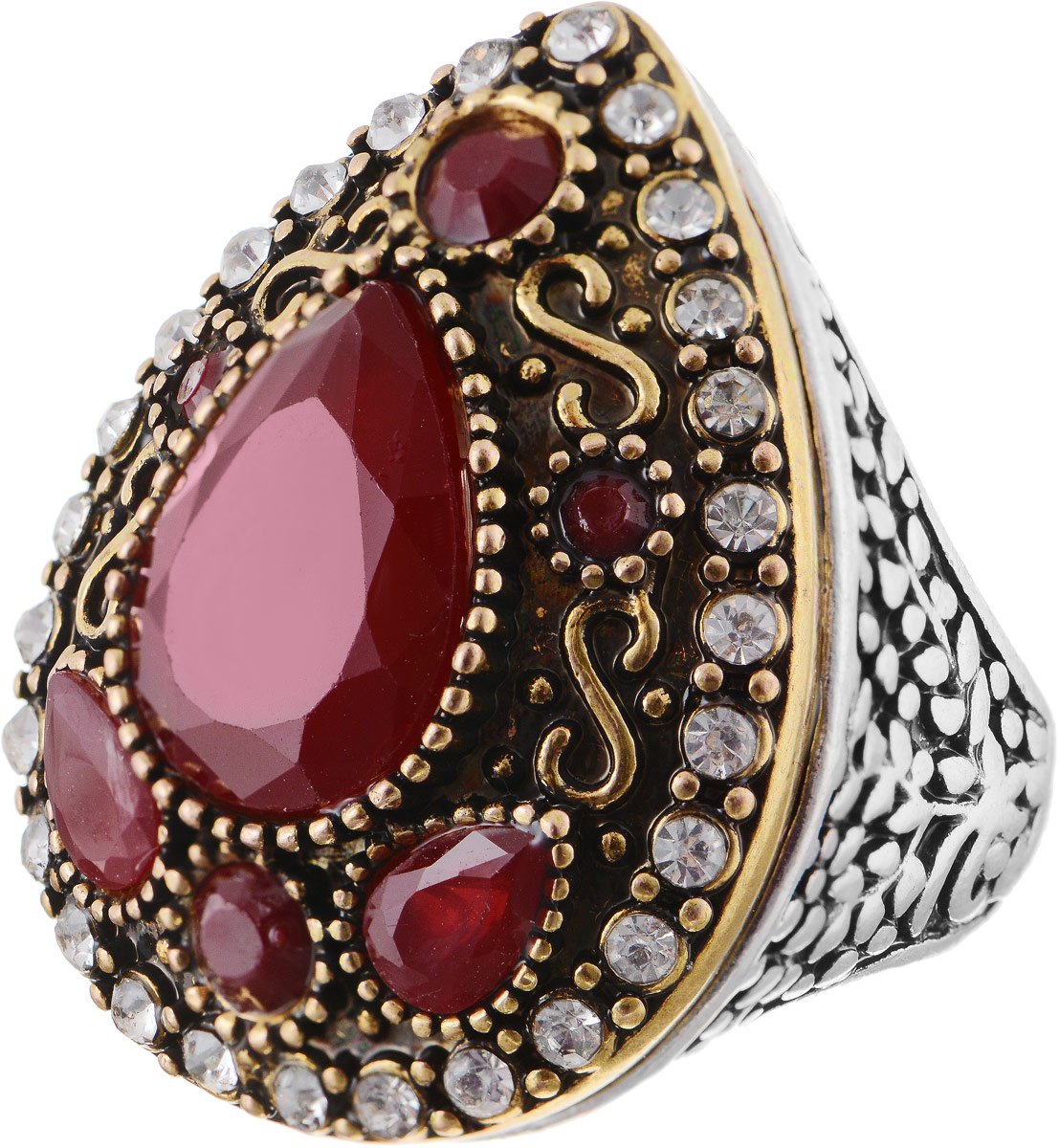 Кольцо Bradex Кармен, цвет: золотой, серебряный, бордовый. AS 0015. Размер 19Коктейльное кольцоКольцо Bradex Кармен выполнено из металлического сплава. Декоративный элемент выполнен в форме капли, оформленной вставками изискусственных камней и страз.