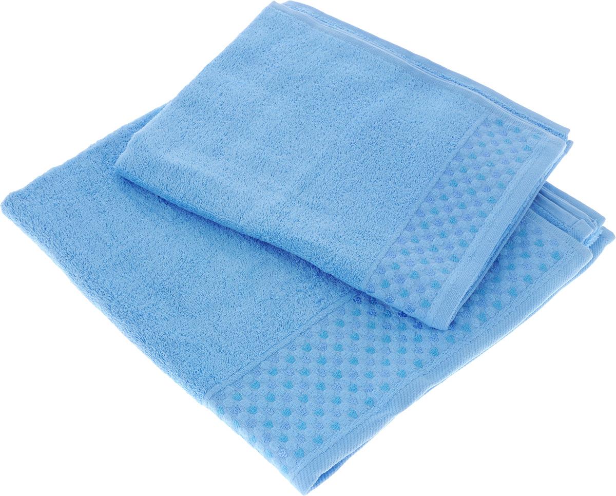Набор полотенец Tete-a-Tete Сердечки, цвет: голубой, 2 шт