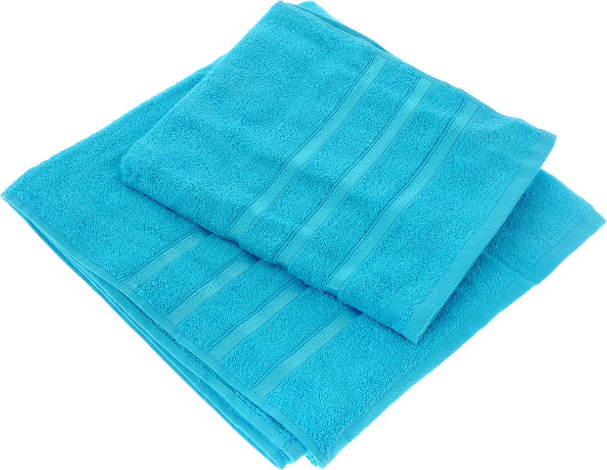 Набор полотенец Tete-a-Tete Ленты, цвет: бирюза, 2 шт. УНП-101 набор полотенец tete a tete сердечки цвет желтый бирюза 50 х 90 см 2 шт