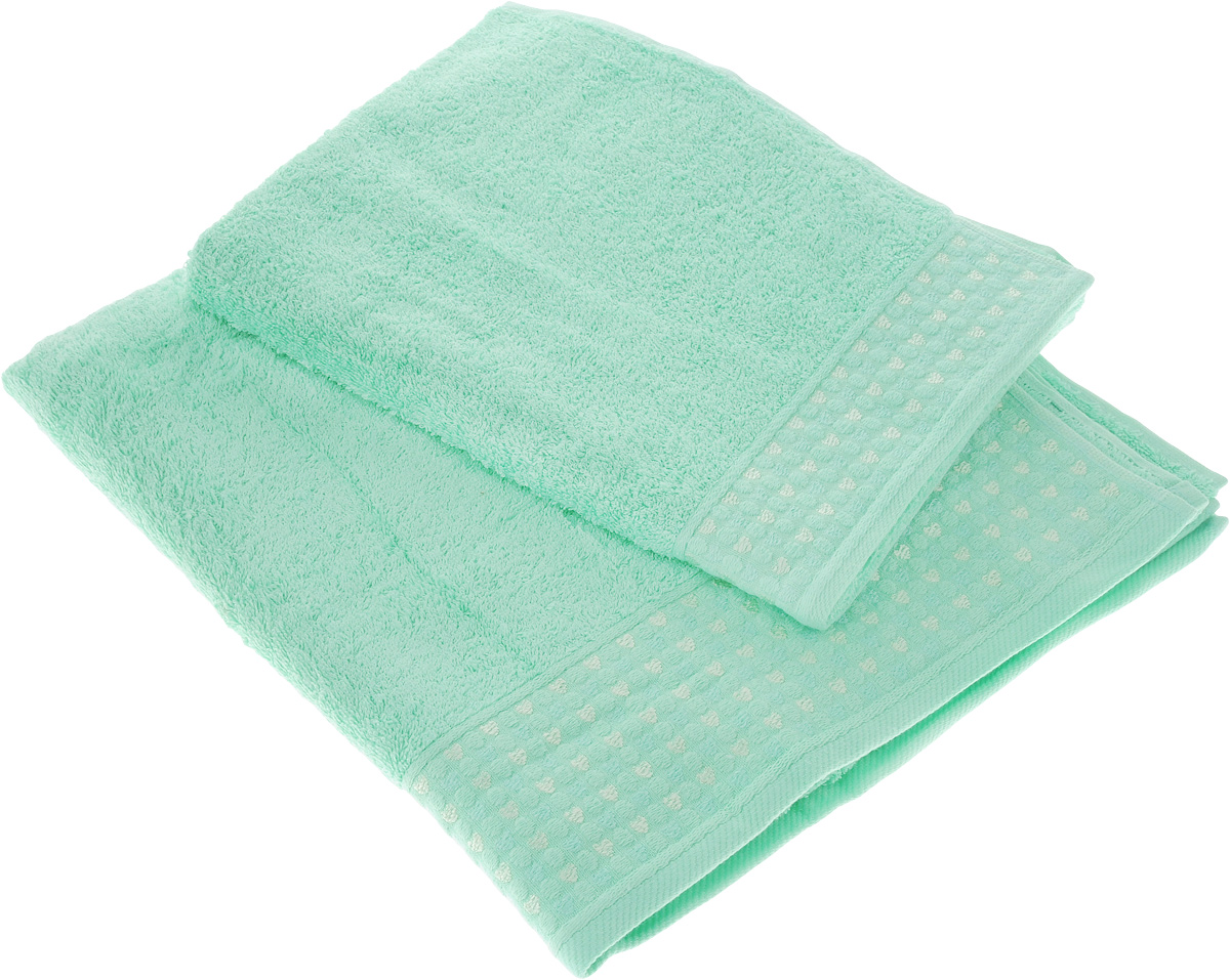 Набор полотенец Tete-a-Tete Сердечки, цвет: мятный, 2 шт