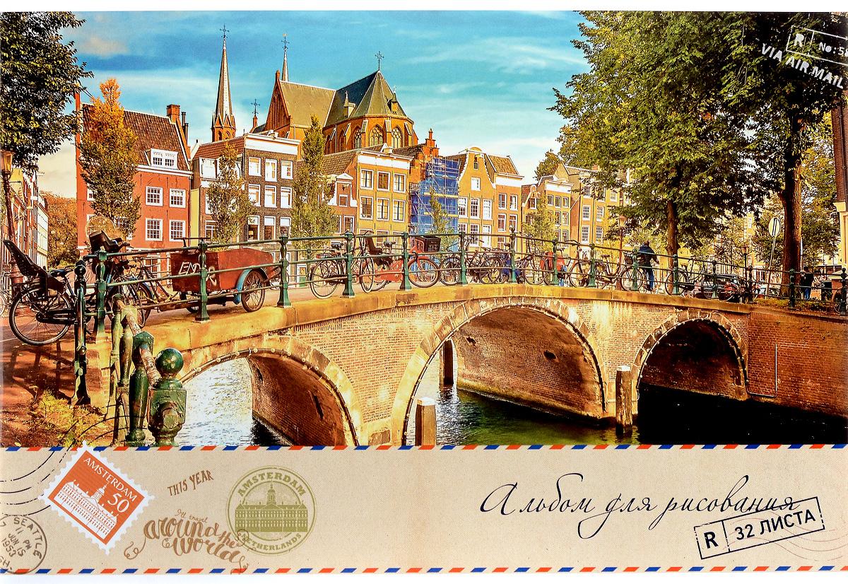 ArtSpace Альбом для рисования Air Mail Amsterdam 32 листаА32ВЛ_9083Альбом для рисования ArtSpace Air Mail. Amsterdam будет вдохновлять вашего ребенка на творческий процесс.Альбом изготовлен из белоснежной бумаги с яркой обложкой из плотного картона, оформленной изображением городского пейзажа. Внутренний блок альбома состоит из 32 листов, соединенных скрепками. Высокое качество бумаги позволяет рисовать в альбоме различными типами красок, фломастерами, цветными и чернографитными карандашами, гелевыми ручками. Занимаясь изобразительным творчеством, ребенок тренирует мелкую моторику рук, становится более усидчивым и спокойным.