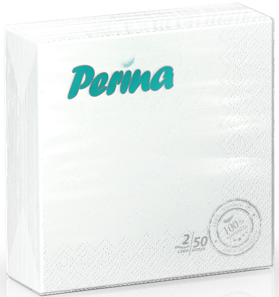Салфетки бумажные Perina, 2-слойные, цвет: белый, 50 шт салфетки бумажные круглые 3 слойные 12 шт ассорти