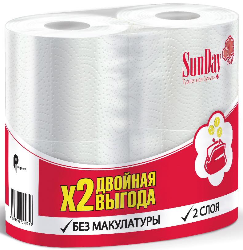 Туалетная бумага SunDay, 2-слойная, цвет: белый, 4 рулона