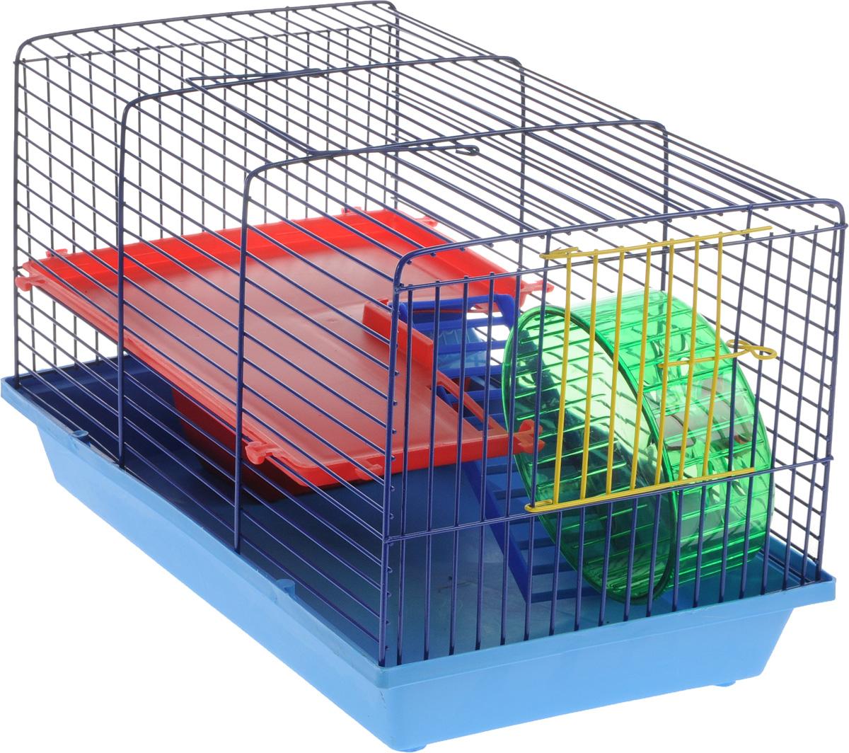 Клетка для грызунов ЗооМарк, 2-этажная, цвет: синий поддон, синяя решетка, красный этаж, 36 х 23 х 24 см125ССКлетка ЗооМарк, выполненная из пластика и металла, предназначена для мелких грызунов. Изделие двухэтажное, оборудовано колесом для подвижных игр и пластиковым домиком. Клетка имеет яркий поддон, удобна в использовании и легко чистится. Сверху имеется ручка для переноски. Такая клетка станет уединенным личным пространством и уютным домиком для маленького грызуна.