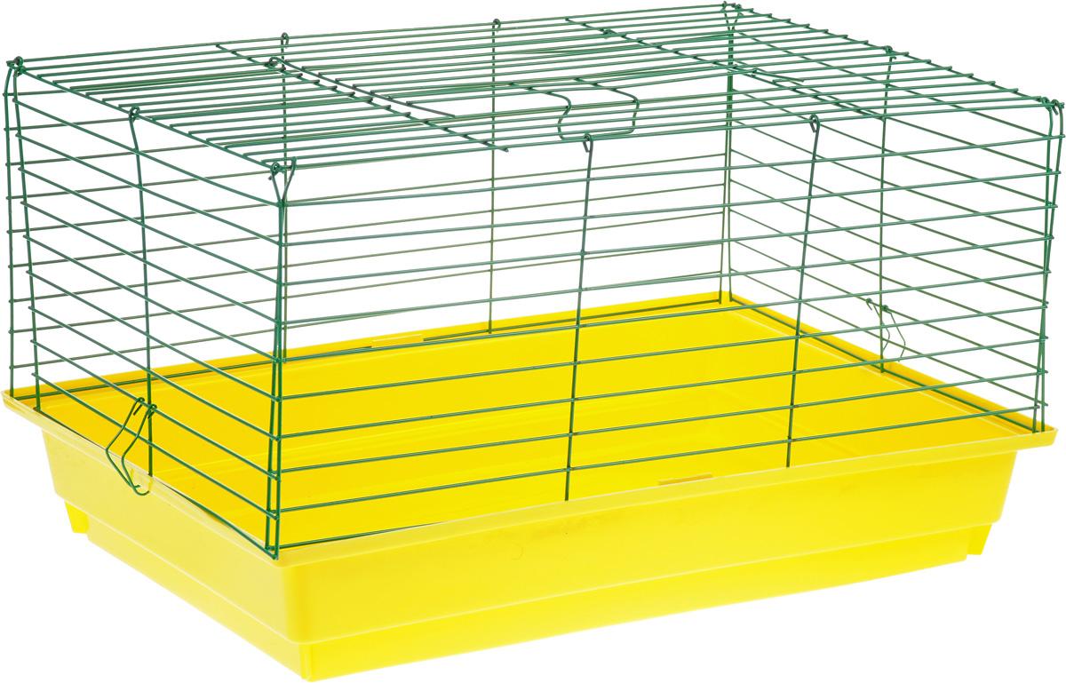 Клетка для кролика ЗооМарк, цвет: желтый поддон, зеленая решетка, 60 х 40 х 35 см620ЖЗКлассическая клетка ЗооМарк со сплошным дном станет уединенным личным пространством и уютным домиком для кролика. Изделие выполнено из металла и пластика. Клетка надежно закрывается на защелки. Легко чистится. Для более удобной транспортировки клетку можно сложить.