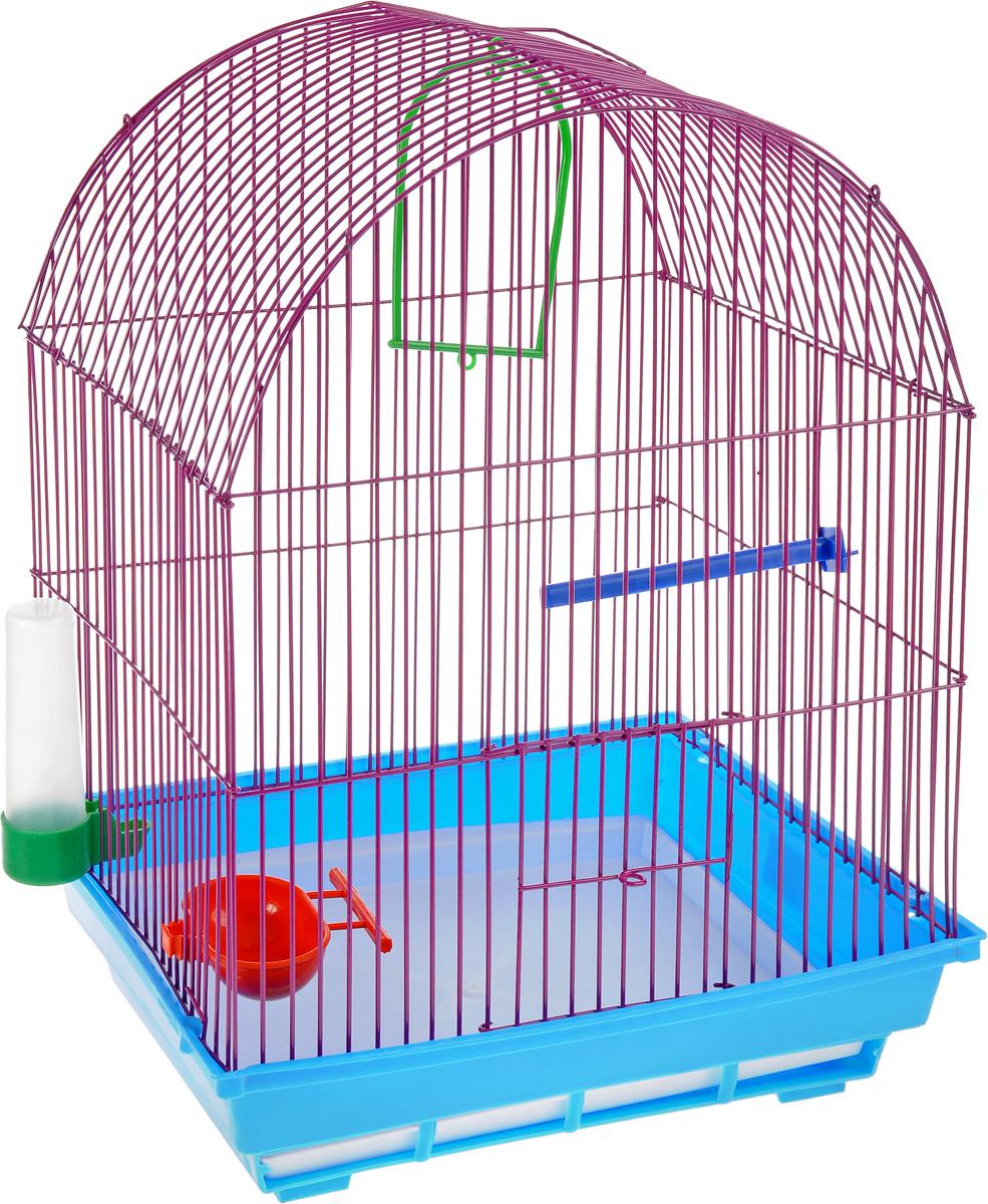 Клетка для птиц ЗооМарк, цвет: синий поддон, фиолетовая решетка, 35 х 28 х 45 см470СФ/440Клетка ЗооМарк, выполненная из полипропилена и металла, предназначена для мелких птиц. Вы можете поселить в нее одну или две птицы. Изделие состоит из большого поддона и решетки. Клетка снабжена металлической дверцей, которая открывается и закрывается движением вверх-вниз. В основании клетки находится малый поддон. Клетка удобна в использовании и легко чистится. Она оснащена жердочкой, кольцом для птицы, кормушкой, поилкой и подвижной ручкой для удобной переноски.