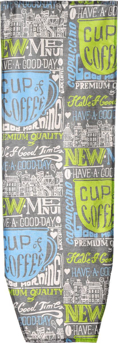 """Чехол для гладильной доски Nika """"Coffee"""", антипригарный, цвет: серый, белый, голубой, 129 х 48 см"""